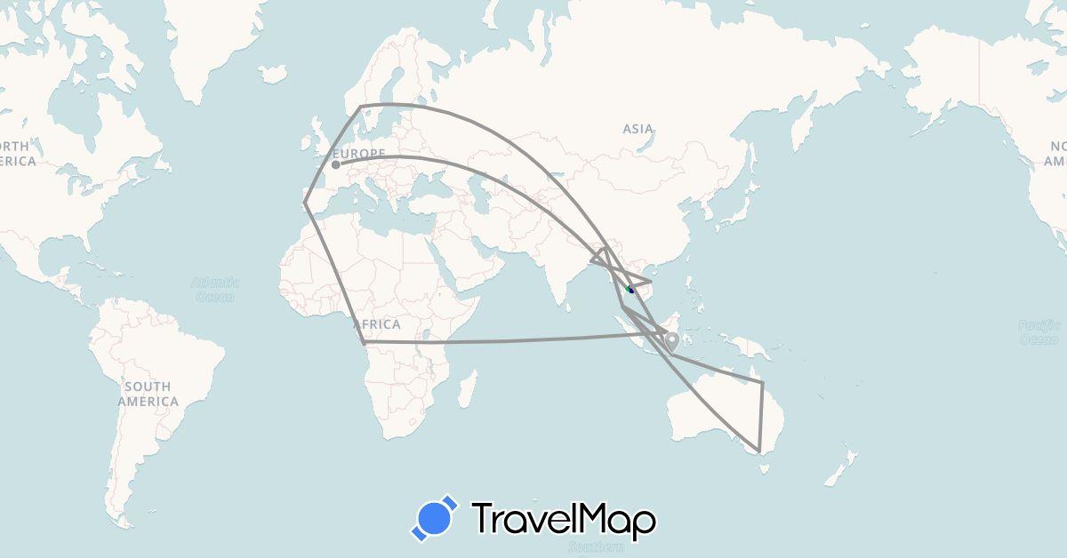 TravelMap itinerary: driving, bus, plane in Australia, Republic of the Congo, France, Indonesia, India, Norway, Portugal, Thailand, Ukraine, Vietnam (Africa, Asia, Europe, Oceania)